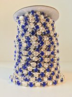 6mm (SS28) Crystal/Sapphire (zilveren cups)