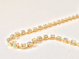 3mm (SS12) AB Crystal (gouden cups)